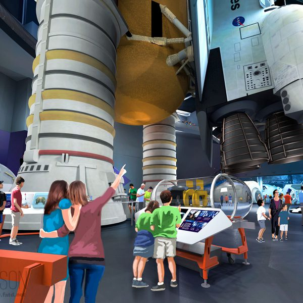 Shuttle viewed from exhibit level