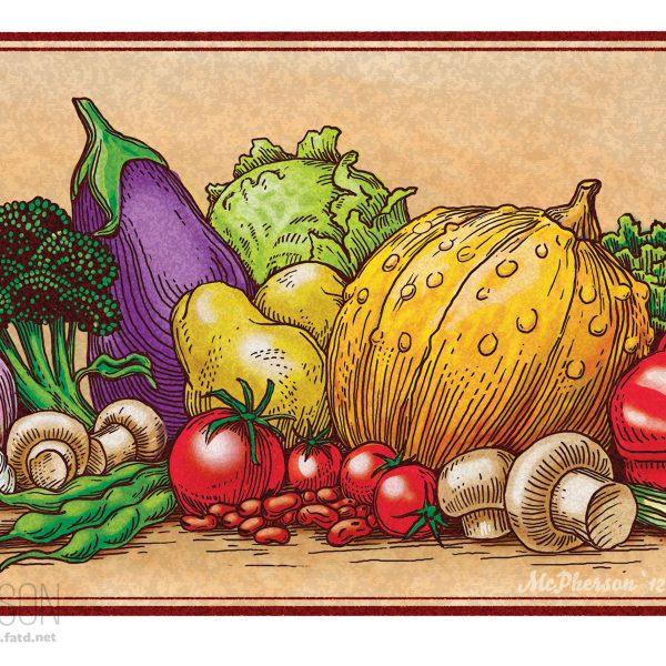 Veggies Woodcut